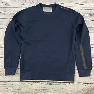 Puma Porsche Design Mens Crew Neck Sweater Pullover Navy Size L $150 NWT