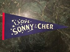 I LOVE SONNY AND CHER EARLY 1970'S CONCERT PENNANT (DARK BLUE)