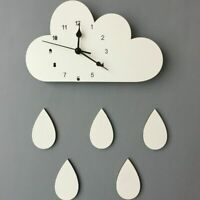 Nordic Wooden Wall Clock Kids Room Home Decors Clouds Designed Cute Watch Clocks