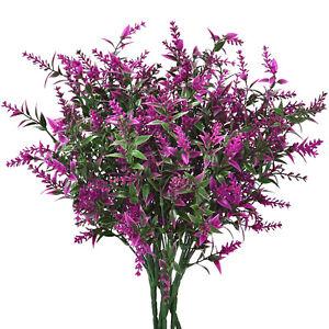 6pcs Artificial Plants Lavender Fake Greenery Bushes Outdoor Home Wedding Decor