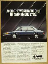 1992 Saab 900 blue car photo vintage print Ad