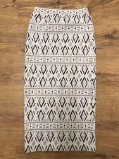 NEXT Black & White Pencil Wiggle Skirt Diamond Embossed Pattern Size 6UK