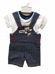 New baby boy Romper suit White T-Shirt and Denim Romper