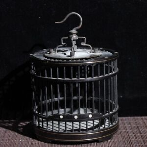 Collect noble Old natural ebony black wood handmade carving delicate bird cage