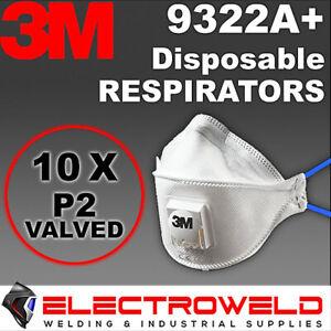 10x 3M Valved Respirators P2 Flat Fold Reusable Paint Dust Flu Aura 9322A+