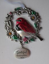 GD Grateful hearts gather here BLESSED BEYOND MEASURE Bird Ornament car charm