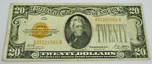 1928 $20 Dollar Gold Certificate Note NR