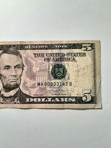 2013 $5  FRN FANCY SERIAL NUMBER   FOUR 0s, QUAD 0000