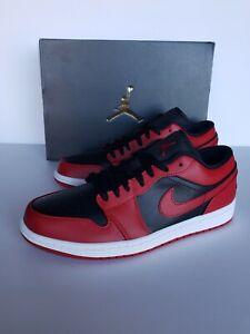 AIR JORDAN 1 BRED LOW, Gym red & black, Men Sizes: 8.5, 9, 9.5, 10, 11, 12
