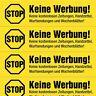 4x5 Keine Werbung! Aufkleber, Gelb (Keine kostenlosen Zeitungen ...)