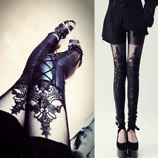 Women Fashion Faux Leather Gothic Punk Leggings Pants Lace Skinny Trousers^,