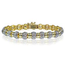 Genuine Diamond Accent Round Tennis Bracelet in Gold Tone