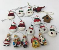 "16 Mini Glass Santas & Resin Snowmen Christmas Ornaments Hand Crafted 1 3/4"""