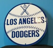 VINTAGE DODGERS PORCELAIN LOS ANGELES MAJOR LEAGUE BASEBALL FIELD STADIUM SIGN