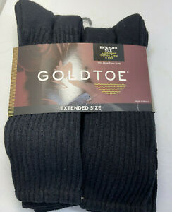 Gold Toe Black Cotton Crew Extended Socks Mens 13 - 15 Fits Shoe 12 - 16 New