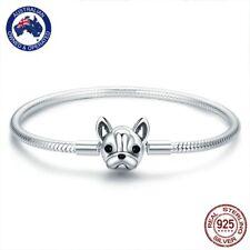 Cute French Bulldog 925 Stirling Silver Charm Bracelet - 17cm