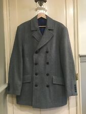 Mens Grey Pierre Cardin Classic Reefer/Pea Coat - Gent, Business, Hipster, Mod