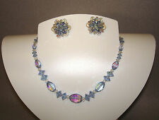 Vintage 1950's Blue & Clear Cut Glass Crystal Bead Necklace & Clip Earrings