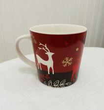 Starbucks Coffee 2009 Holiday Christmas Mug Cup Reindeer Red Gold New Bone China