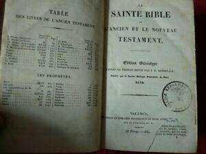 La sainte bible ou l' ancien et le nouveau testament 1839 Librairie Protestante