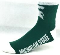 Michigan State Spartans NCAA Deuce Quarter Socks Green White  Gray