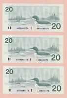 3 x Sequential 1991 $20 Bank of Canada Knight Dodge GEM UNC