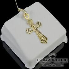 MEN LADIES NEW 100% REAL YELLOW GOLD CRUCIFIX JESUS CROSS DESIGNER CHARM PENDANT