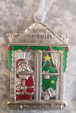 "Ganz Metal Santa Christmas Tree Ornament ""Believe In Miracles"" NEW"