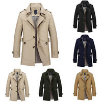 Men's Lapel Collar Windbreaker Coat Jacket Trench Fashion Parka Spring Fall NEW