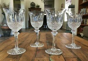 """4 Lot St Louis Crystal Tommy Claret Wine Glasses Goblets Set 6"""" France Mint"""