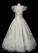 Vintage Wedding Dress 1980s Victorian Satin Ruffled Lace Pink 12 R602 Cosplay
