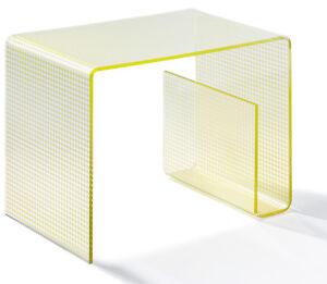 Beistelltisch aus Acrylglas -  Material Acryl klar - Siebdruck gold