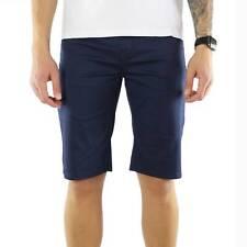 Bermuda Uomo Elegante Cotone Blu Slim Fit Pantalone Corto Pantaloncini