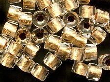 50-or doublé cristal à facettes roller grand trou tchèque perles de verre - 5x4mm