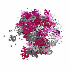 30th Birthday Party / Anniversary Table Confetti Decoration - Pink / Silver 14g