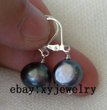 10-11mm black Baroque fresh water pearl dangle earrings