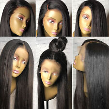 Women Black Lace Front Natural Hair Glueless Lace Wig With Baby Density Straight