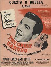 Questa O Quella (from The Great Caruso) - Sheet Music / 1957 / Mario Lanza