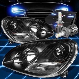 Fit 2000-2006 Mercedes Benz S430 Projector Headlights W/LED Kit+Cool Fan Black
