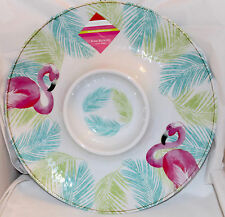 Isaac Mizrahi FLAMINGO MELAMINE CHIP N DIP Plate Tray NEW Pink Tropical Palm