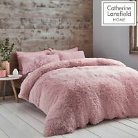 Catherine Lansfield Cuddly Fluffy Soft Cosy Duvet Cover Bedding Set Blush