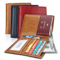 Men's Leather Passport Holder RFID Blocking Wallet Credit Card Holder Money Clip