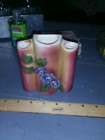 Vintage Ceramic Rose Purple Flowers Vase Wall Pocket