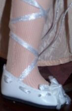"White Ballet Doll Shoes White satin ribbons fit Mary Hoyer + 1-3/4"" Length"