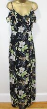 Lipsy Cold Shoulder Maxi Dress 8 Floral Ruffle Thigh Slit Sexy Backless Wedding