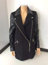 River Island Black Coat Jacket Size 34 Uk 8 Vgc Faux Leather Sleeves