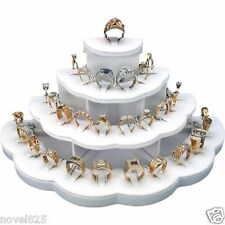 Ring Display White Faux Leather Holds 29 Rings Jewelry