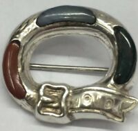 Vintage Scottish Miracle Buckle Agate Inlaid Brooch Sterling Silver.