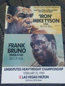 Original Mike Tyson + Frank Bruno Boxing Program. 1989. Las Vegas Hilton. Nice.