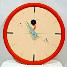 "Vtg 1986 Canetti Modern Art Time Postmodern Wall Clock 12"" Works!"